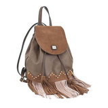 Сумка-рюкзак коричневая с бахромой, 25x21.5x21
