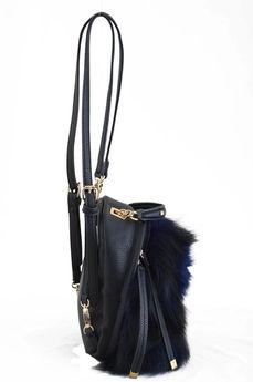 Предварительный просмотр фотографии YES! Сумка-рюкзак, синяя, с мехом