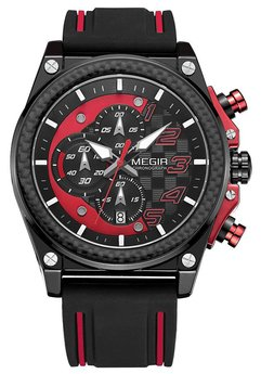 Часы Megir Black Red Black MG2051