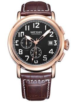 Часы Megir Gold Black Brown MG2031