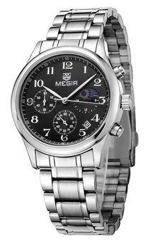 Часы Megir Silver Black Silver MG5007 SS
