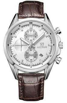 Часы Megir Silver Silver Brown MG5005
