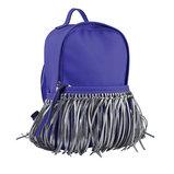 Сумка-рюкзак, синяя с бахромой, 36x26x11