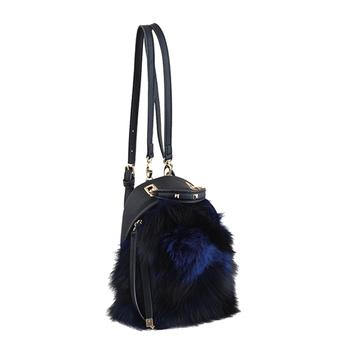 Рюкзак YES! Сумка-рюкзак, синяя, с мехом