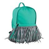 Сумка-рюкзак, мятный с бахромой, 36x26x11